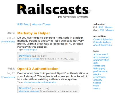 Le site Railscasts.com de Ryan Bates
