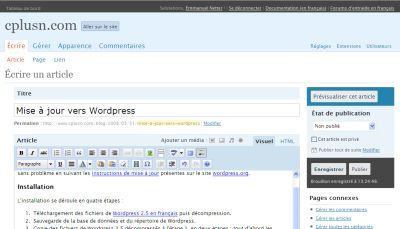 Ecran d\'édition de WordPress 2.5