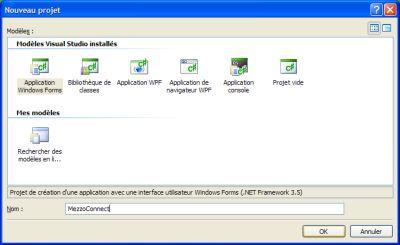 Nouveau projet Visual Studio