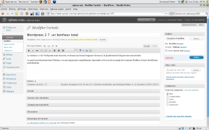 Interface de WordPress 2.7