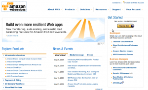 Page d'accueil Amazon Web Services